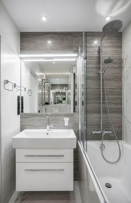 Для визуального зонирования ванной комнаты можно использовать любые нейтральные оттенки.