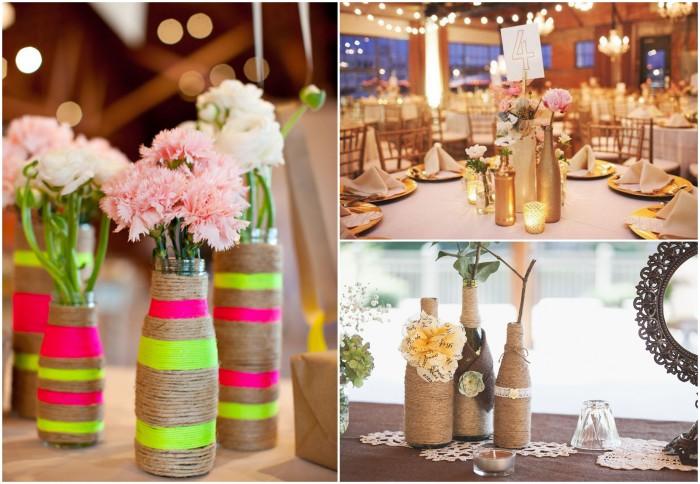 Декорированные бутылки для украшения свадьбы.