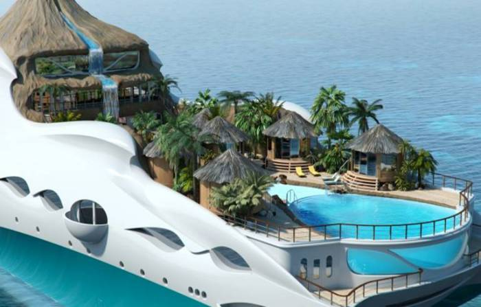 Роскошная гигантская яхта, которая вмещает в себя целый остров.