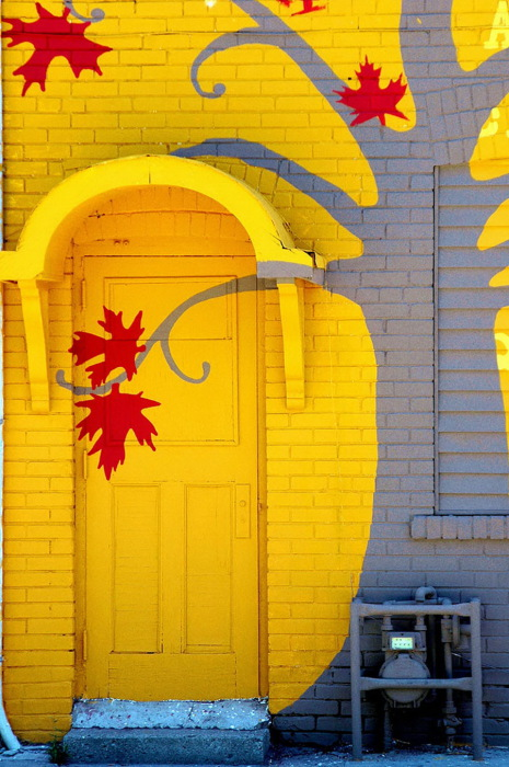 Дверь с изображенными на ней кленовыми листами, которые являются символом Канады.