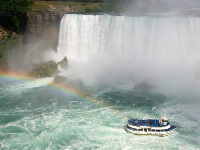 Водопад «Подкова», разделяющий Канаду и США.