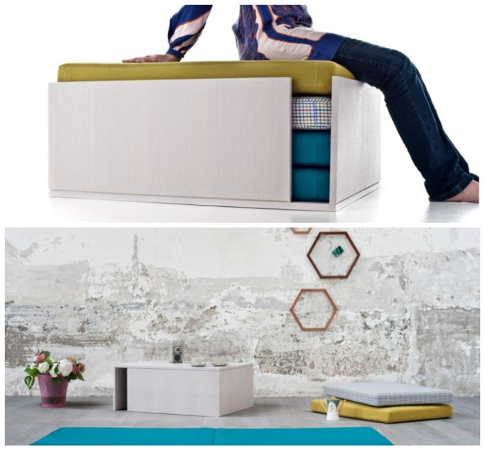 Банкетка, которую легко превратить в стол, окруженный мягкими подушками.