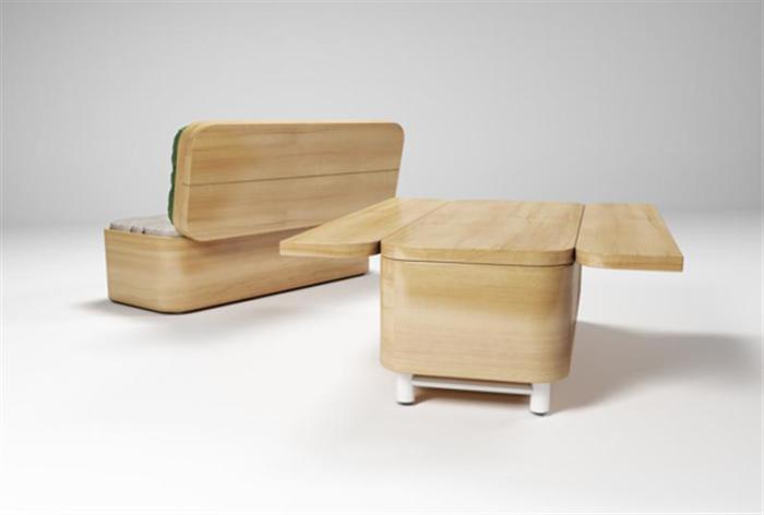Подобный диван-стол - отличное решение для небольшого пространства.