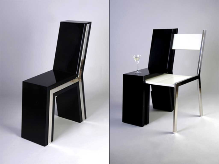 Стул с простым и современным дизайном, внутри которого спрятан такой же стул.