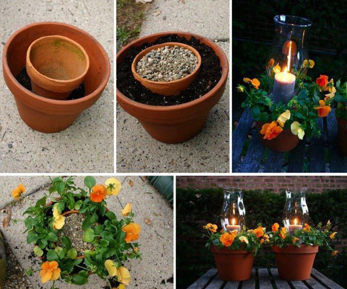 Оригинальный способ объединить лампаду и цветок, который идеально смотрится в саду.