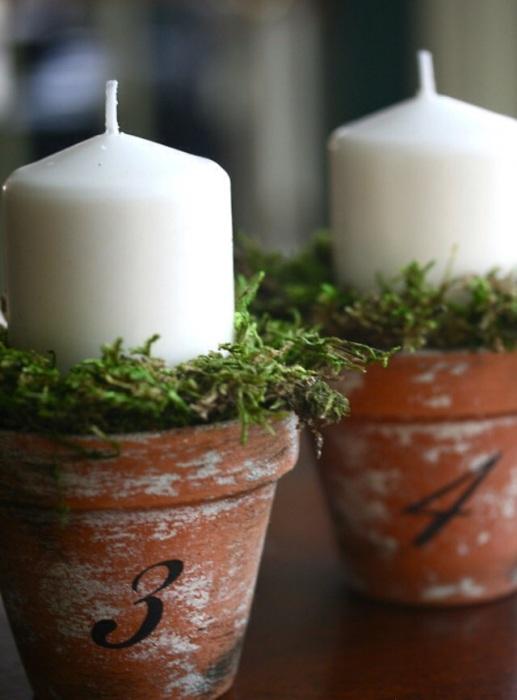 Маленькие подсвечники из горшков для домашних растений.
