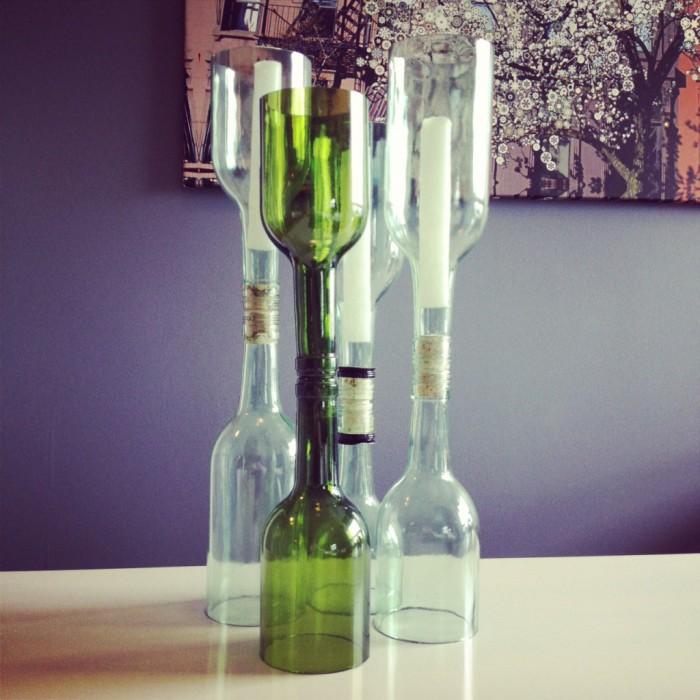 Оригинальные подсвечники из бутылок и бечевки.