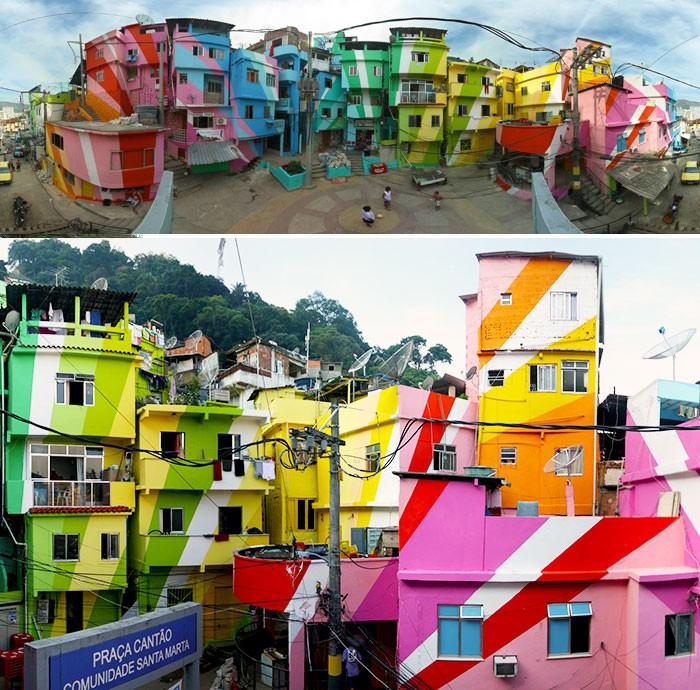 Окрашенные в яркие цвета дома.