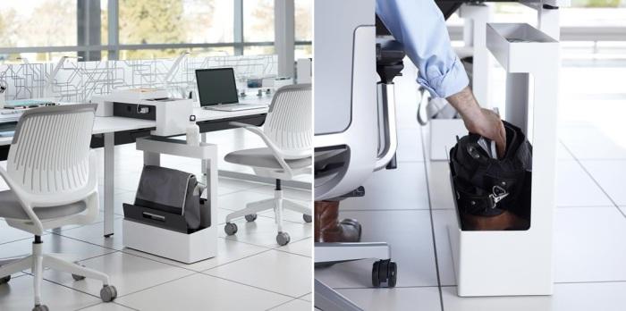 Переносная стойка, которая располагается под столом и в которой удобно хранить личные вещи.