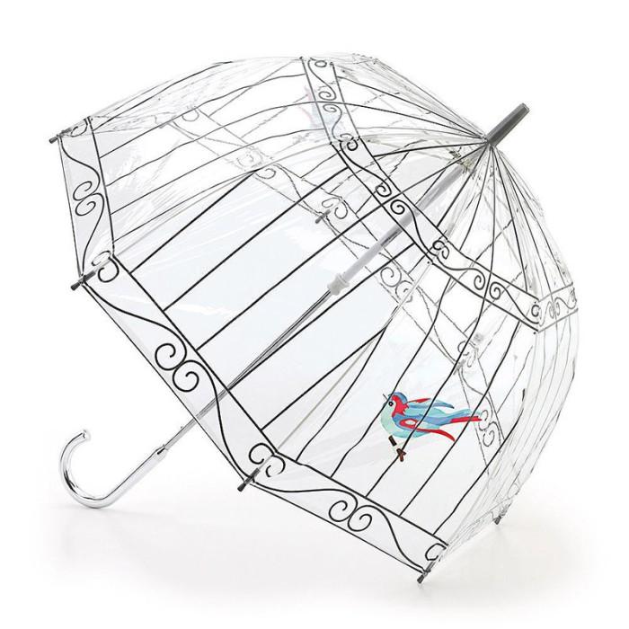 Прозрачный зонт с необычным рисунком.