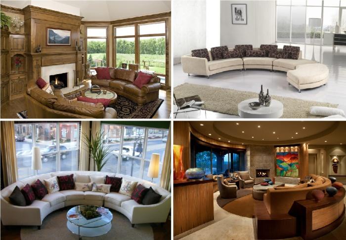 Великолепные закругленные диваны для гостиной комнаты.