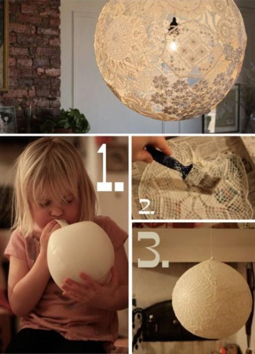 Кружевная лампа привнесет немного романтики и уюта в комнату.