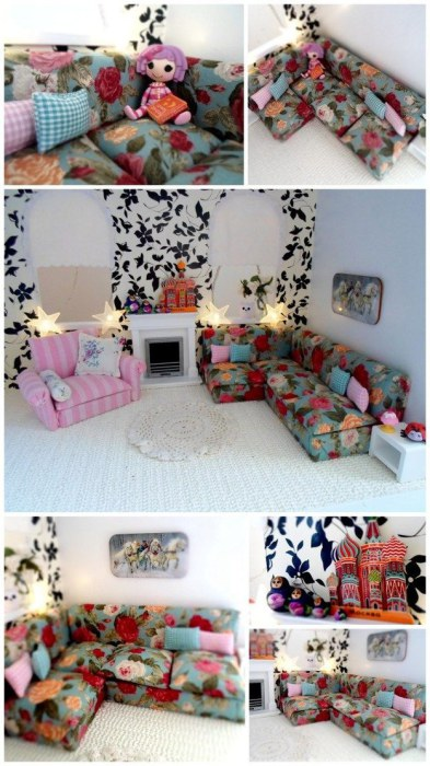 Кукольный дом как пример того, как можно удачно смешивать разные цвета и текстуры в интерьере.