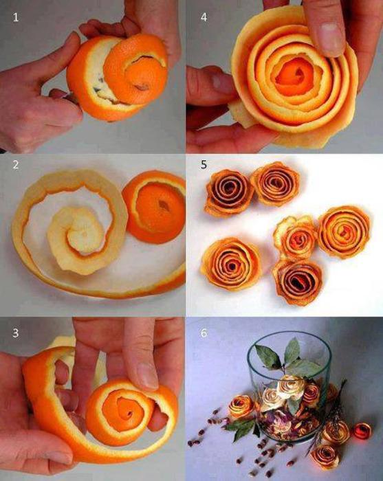 Сушеная кора апельсина как оригинальный предмет декора.