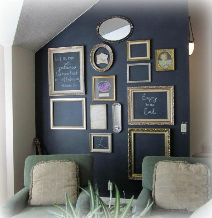 Прекрасный способ дополнить стену, представляющей собою грифельную доску.
