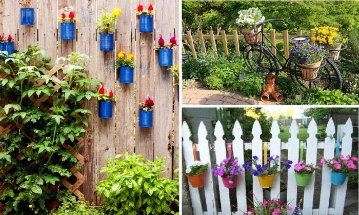 Идеи дизайна садовой изгороди с помощью цветочных горшков.