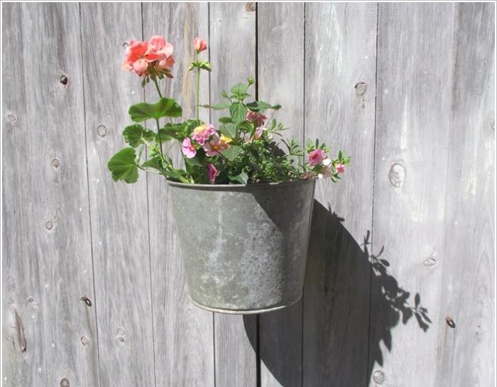 Цветы, растущие в металлическом ведре.
