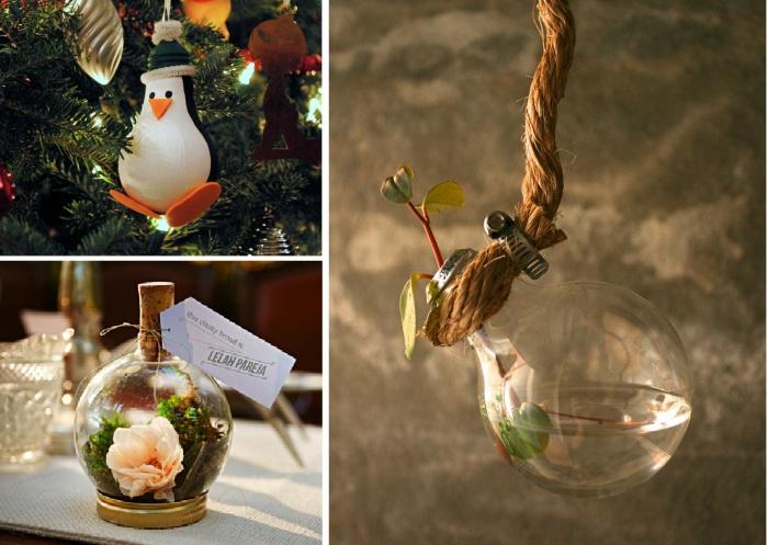 Великолепные предметы декора из лампочек.