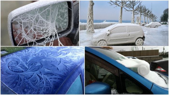 Зимние узоры на машинах.
