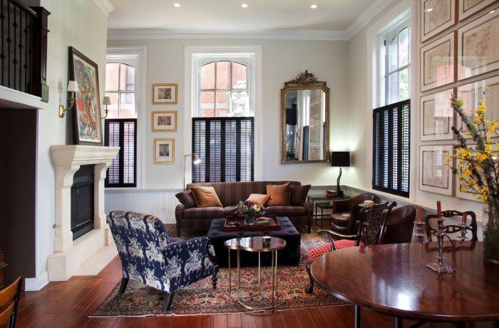 Ставни, выполняющие не только функциональную, но и декоративную роль в комнате.