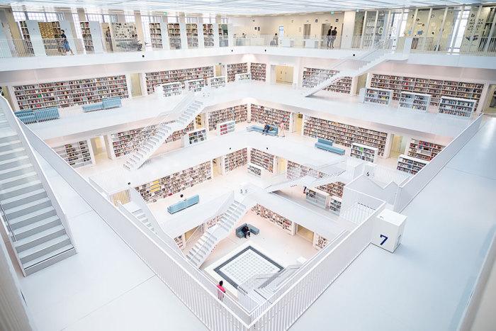 Минималистичный дизайн величественной библиотеки.
