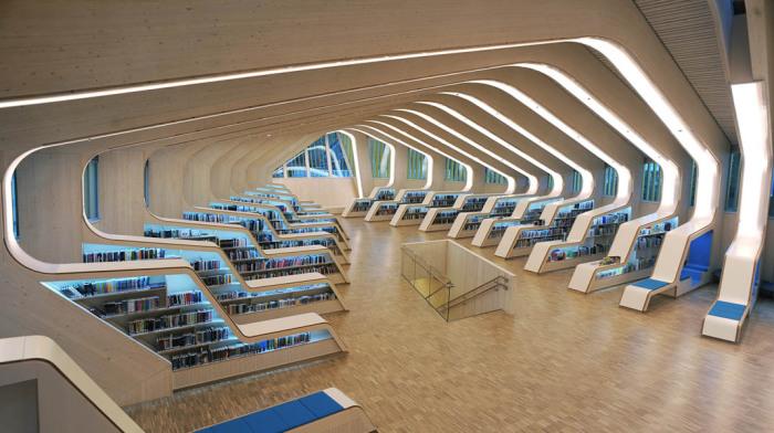 Библиотека с футуристичным и функциональным дизайном.
