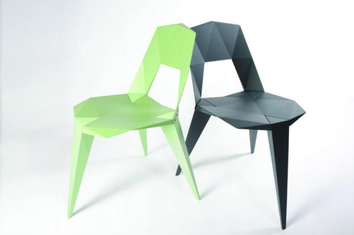 Оригинальная мебель, внешне похожа на оригами.