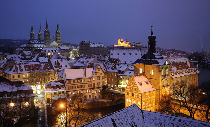 Немецкий город зимой.