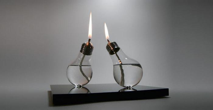 Масляная лампа из лампы накаливания.