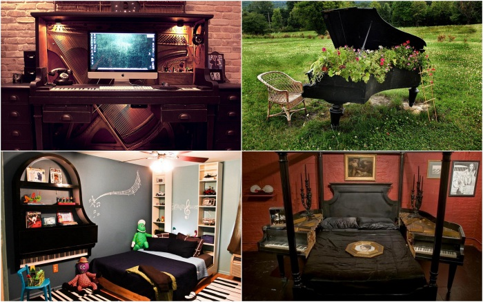Примеры использования старого фортепиано.