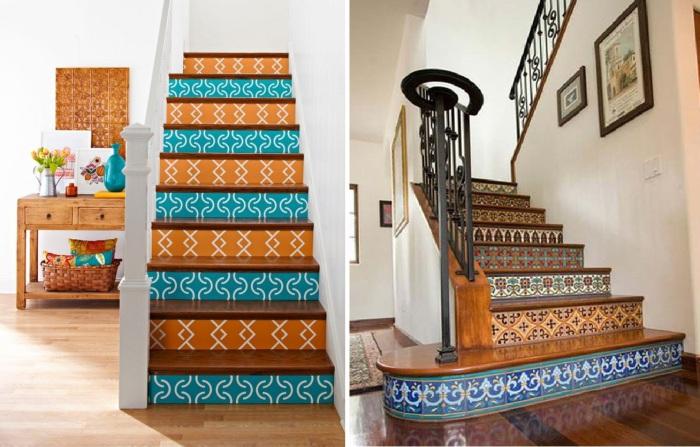 Оригинальные варианты украшения подступеней лестницы в квартире.