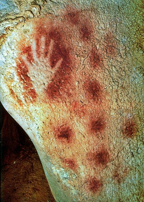 Отпечаток руки древнего человека.