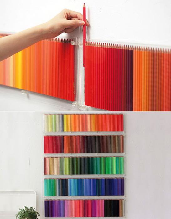 Декор стен с помощью разноцветных карандашей.