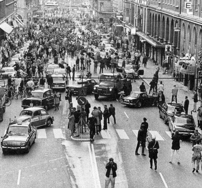 Последствия перехода на правостороннее движение в Швеции.