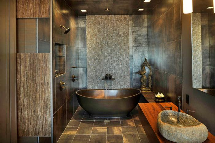 Дизайн ванной комнаты с использованием натурального камня.
