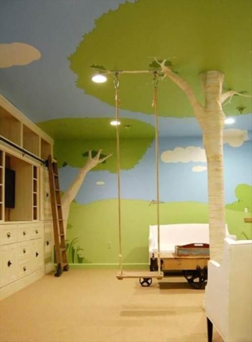 Уютный парк с качелями в детской комнате.