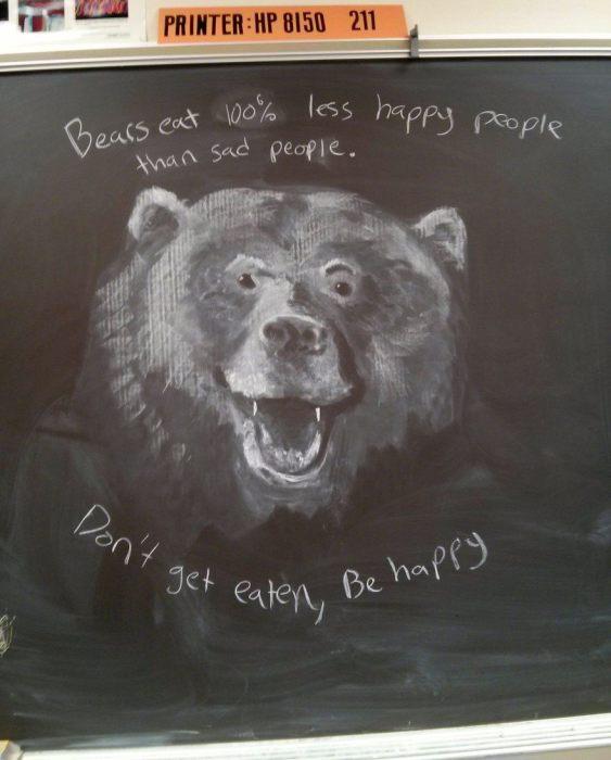 Потрясающие рисунки на доске, выполненные простым учителем.