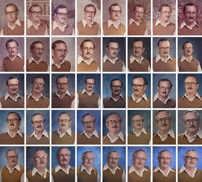 Преподаватель, который фотографируется для школьного альбома в одной и той же одежде в течении 40 лет, чтобы его запомнили.