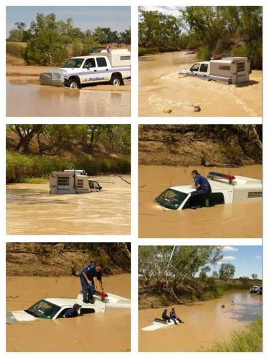 Оказывается, не каждый полицейский знает о том, что проезд сквозь реку - нелегкая задача.