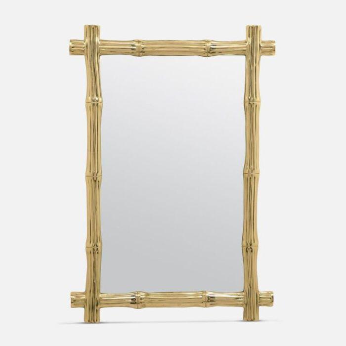 Замечательная рама для зеркала из бамбука, покрашенного золотой краской.