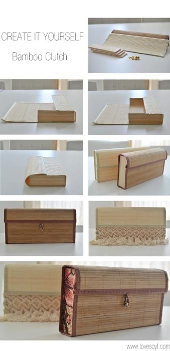 Простой способ сделать необычный клатч из бамбукового коврика.