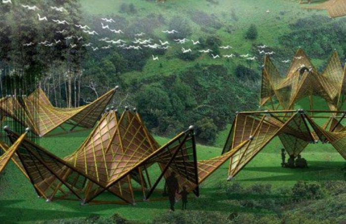 Красивые бамбуковые дома-оригами.