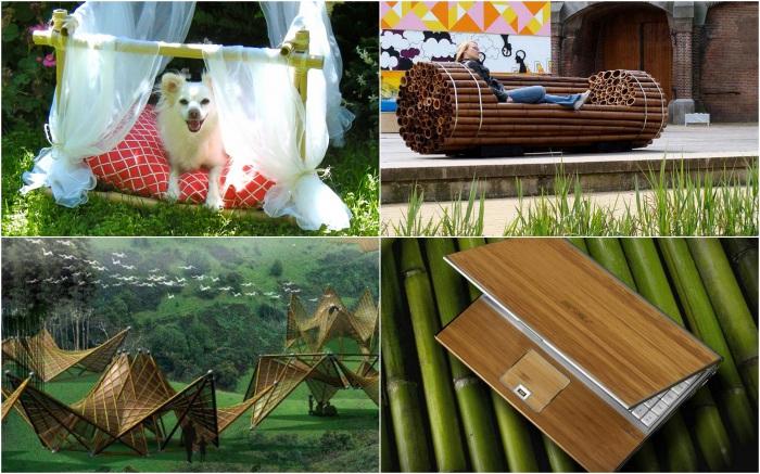 Дома, мебель, аксессуары, посуда и техника из бамбука.