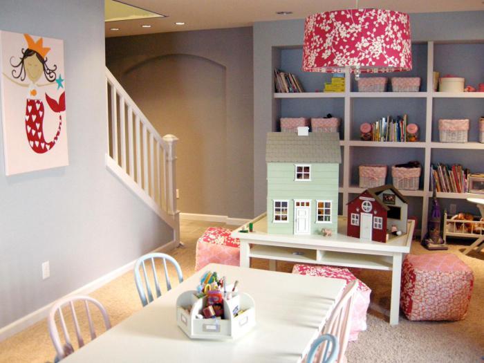 Оригинальный дизайн игровой комнаты для девочки.
