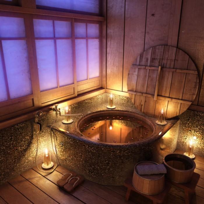 Ванная в японском стиле с крышкой из натурального дерева.