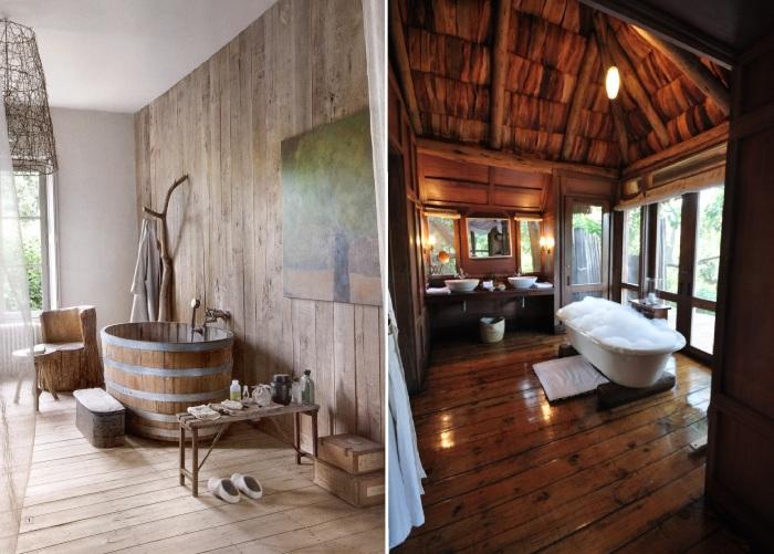 Идеи использования натурального дерева в дизайне ванной комнаты.