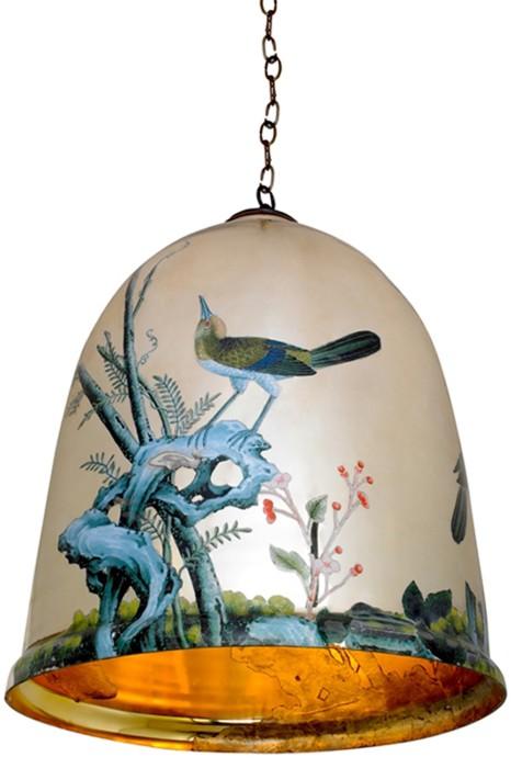 Лампа в виде расписного колокольчика.