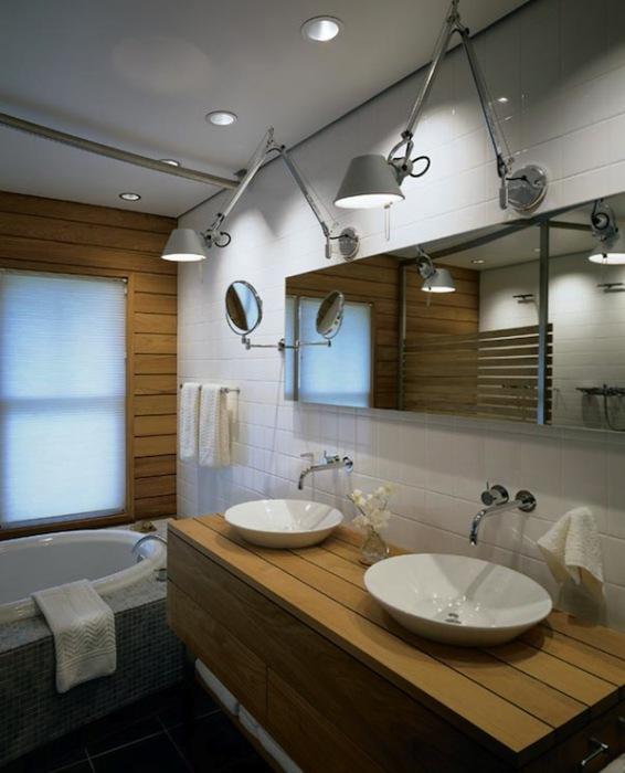 В качестве освещения в ванной комнате