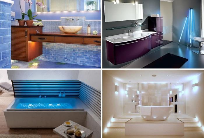 Необычные идеи освещения ванной комнаты.
