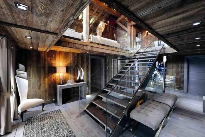 Гостиная домика во французских Альпах.